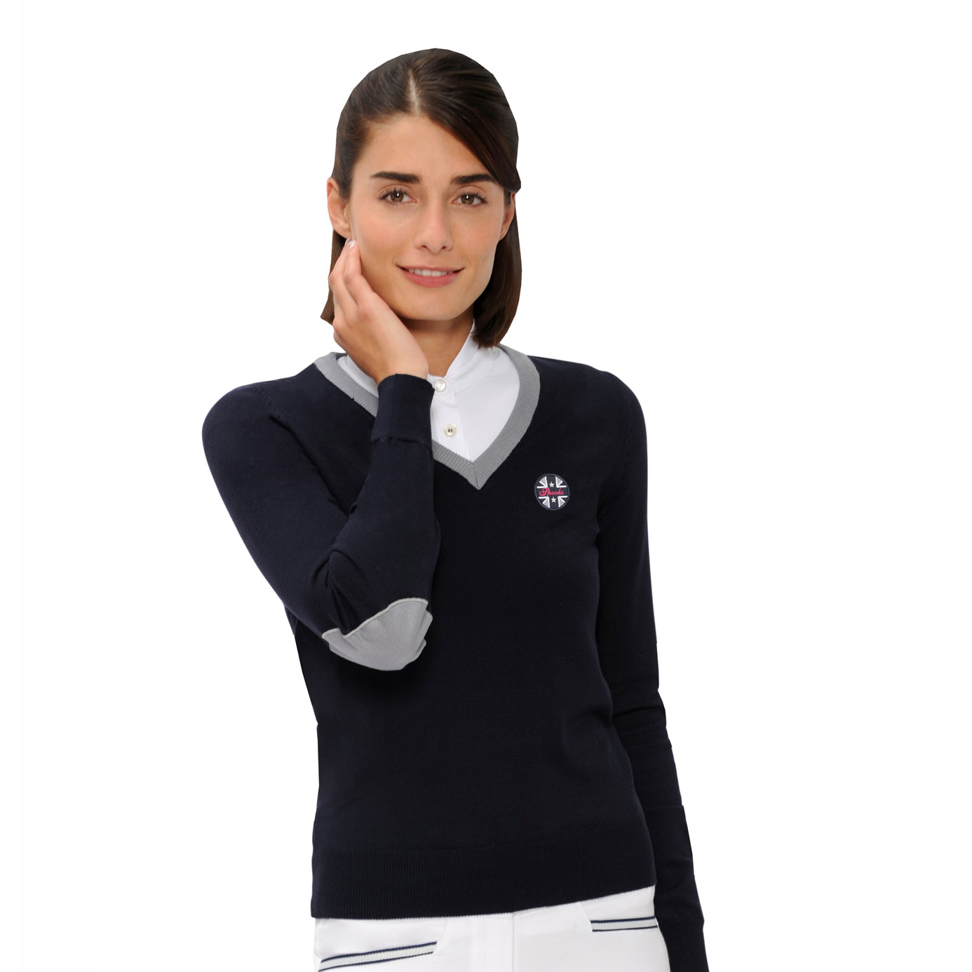 Spooks Mila Navy Ladies Equestrian V-Neck Pullover