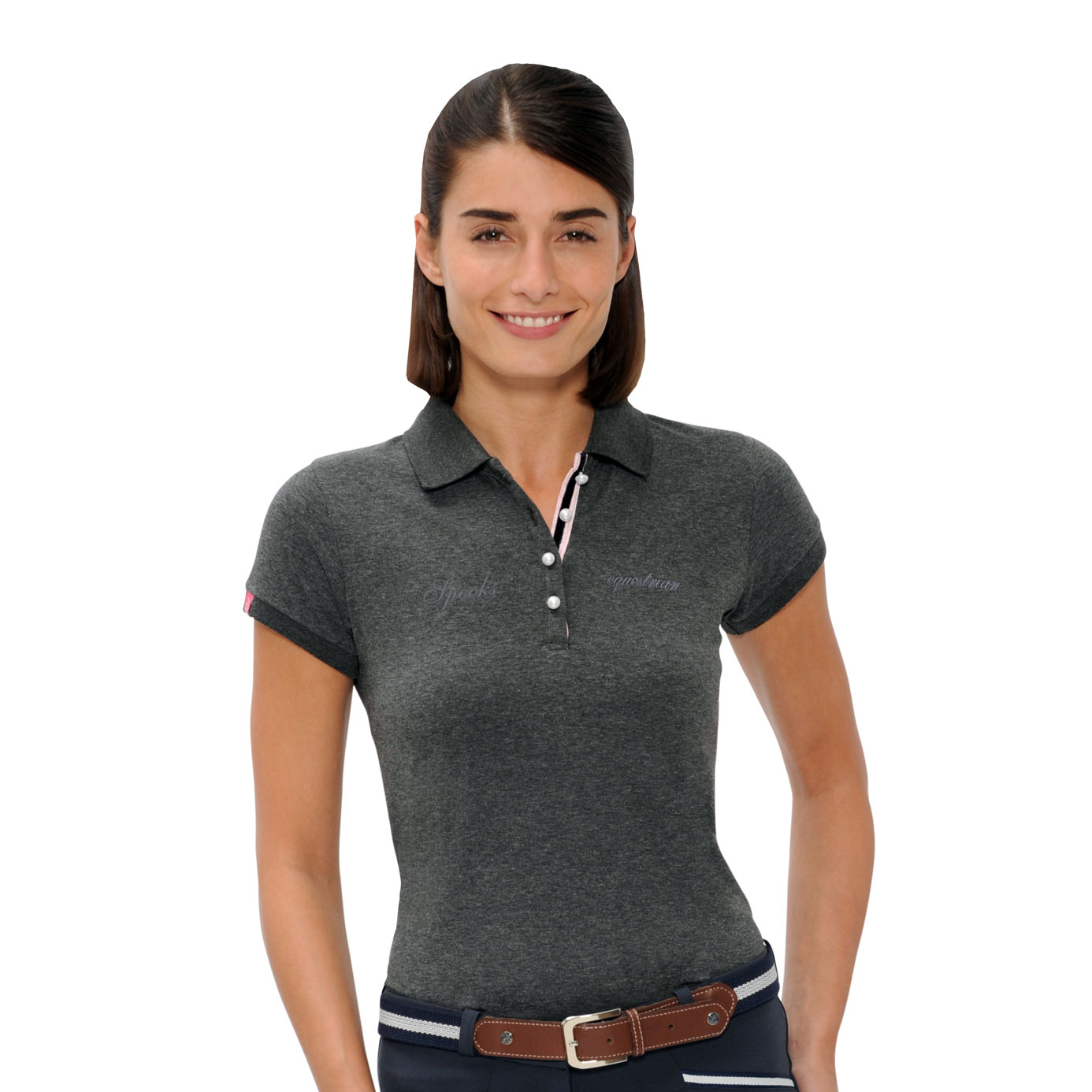 Spooks Mira Ladies Equestrian Dark Grey Polo Shirt