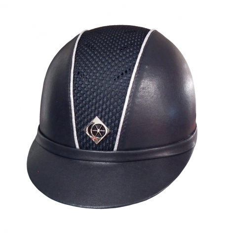 Ayr8 Leather Look Riding Hat - Navy with Sparkly Silver Piping - Sizes 6 7/8 to 8 Image 1