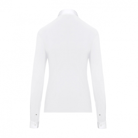 Pleated Jersey Long-Sleeve Show Shirt - White Image 3