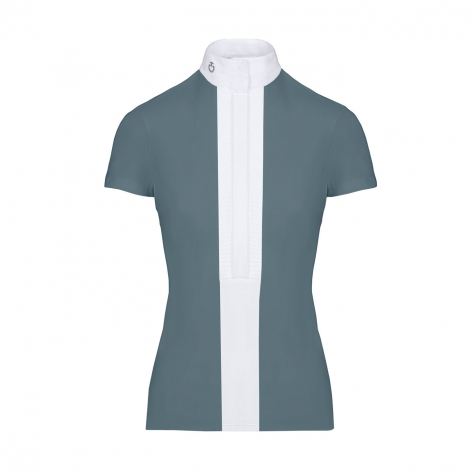 Pleated Jersey Short-Sleeve Show Shirt - Teal Image 2