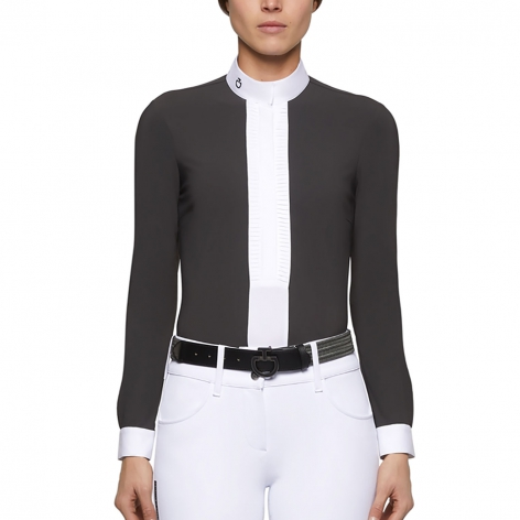 Pleated Jersey Long-Sleeve Show Shirt - Dark Grey Image 3