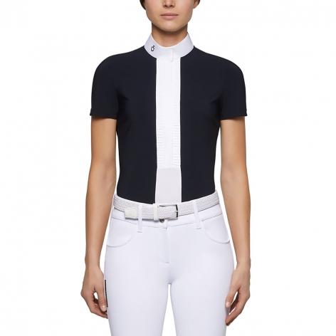 Pleated Jersey Short-Sleeve Show Shirt - Navy Image 3