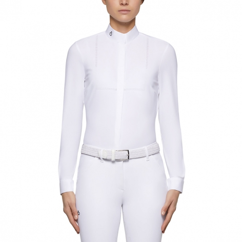 Laser Perforated Tech Knit Long Sleeve Show Shirt - White Image 3