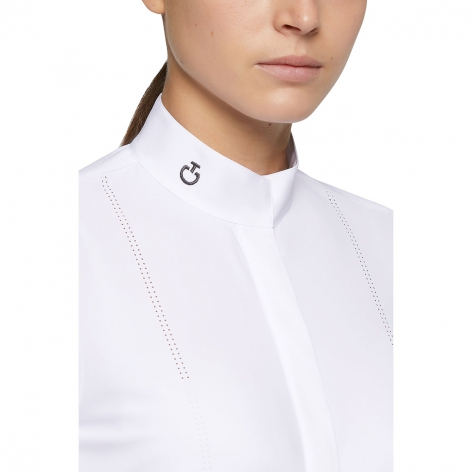 Laser Perforated Tech Knit Long Sleeve Show Shirt - White Image 4