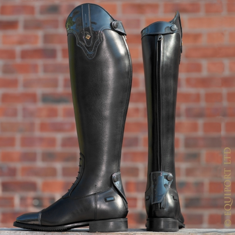 Grey Patent Riding Boots