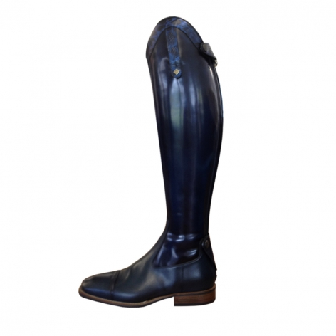 S3901 Navy Brushed Riding Boots with Blue Greta Trim Image 2