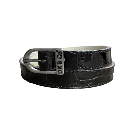 Black Crocodile Spur Straps