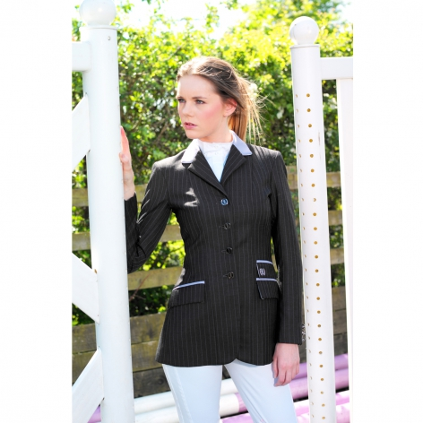 Grey Pinstripe Wool Show Jacket with Lilac and Pink Pinstripe