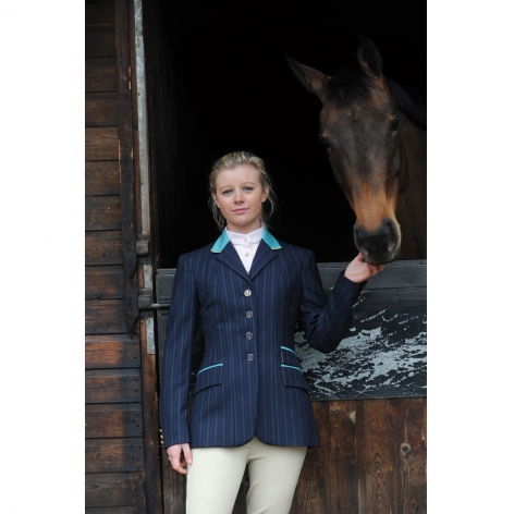 Navy and Kingfisher Blue Wool Show Jacket