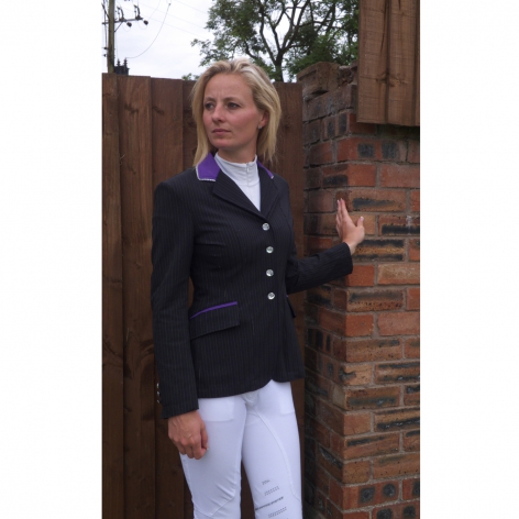 Ebony Pinstripe Technical Show Jacket with Purple Collar