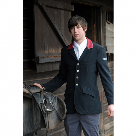 Black Technical Show Jacket with Red Collar