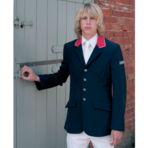 Navy Technical Show Jacket with Red Collar