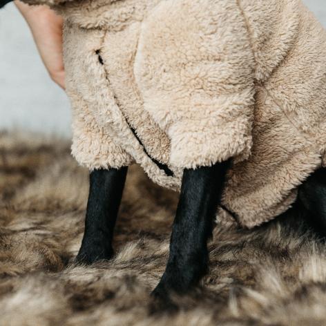 Teddy Fleece Dog Sweater - Beige Image 4