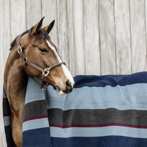 Heavy Fleece Square Blanket - Stripes Navy/Grey Image 3