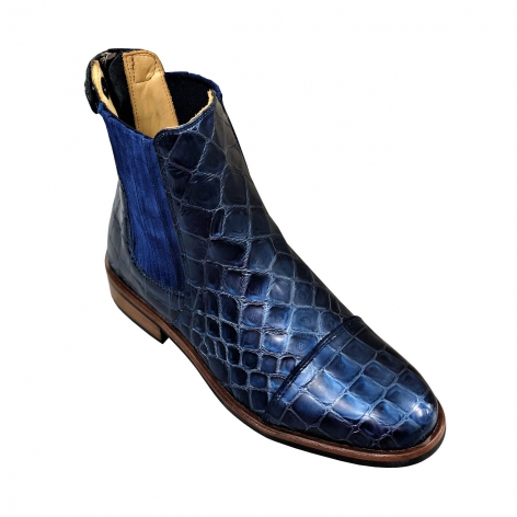 Berlin Croco Blue Short Boots Image 3