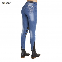 Mary Denim Breeches with Silver Swirl and Silicone Knee 16121-91